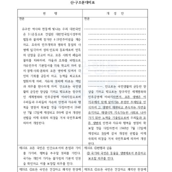 대한민국 헌법개정안 개헌동동(안) [문서류]