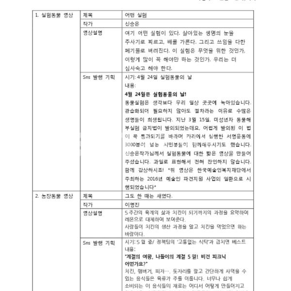 예술인파견지원사업 결과 영상 발행 안 [문서류]