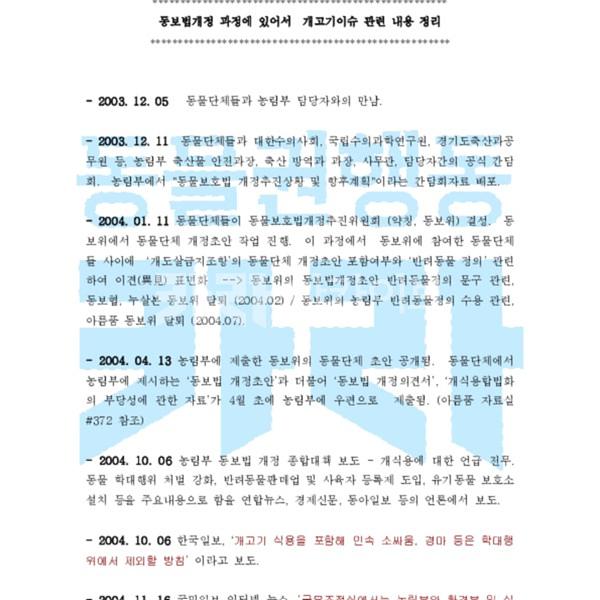 동보법개정 과정에 있어서  개고기이슈 관련 내용 정리(2005년 5월까지) [문서류]