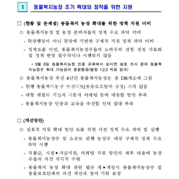 친환경축산과 축산업 개선과제 카라 의견서 [문서류]