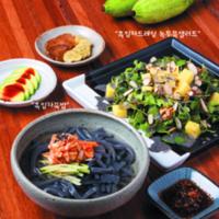 복날대체영양식 엽서 앞면 :  흑임자드레싱 녹두묵샐러드, 흑임자묵밥 [사진그림류]