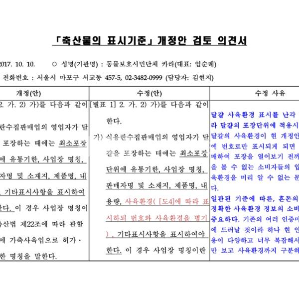 축산물 표시기준 개정안 검토의견서양식 카라 [문서류]