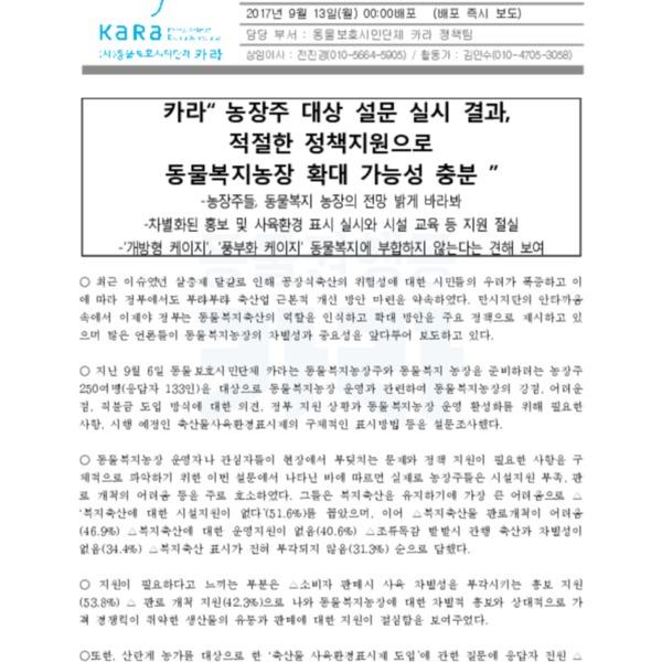 (보도자료) 복지농장 설문조사 결과 [문서류]