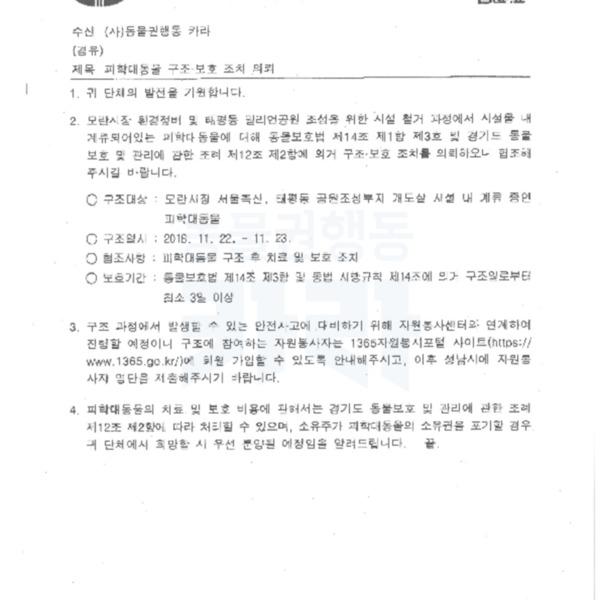 (공문) 성남시의 피학대동물 구조보호 요청 의뢰 [문서류]