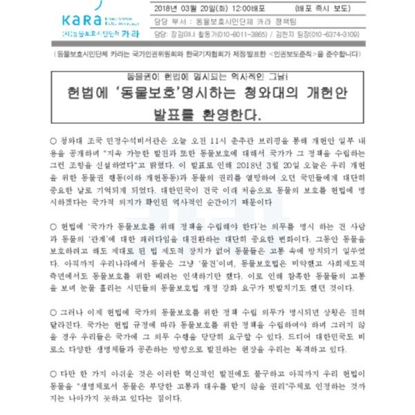 (논평) 대통령 개헌안 발표 환영 [문서류]