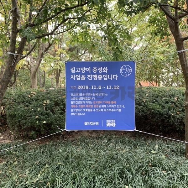 월드컵공원 집중 TNR 안내 현수막 [사진그림류]